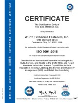 ISO 9001:2015 Würth Timberline Fasteners Inc.